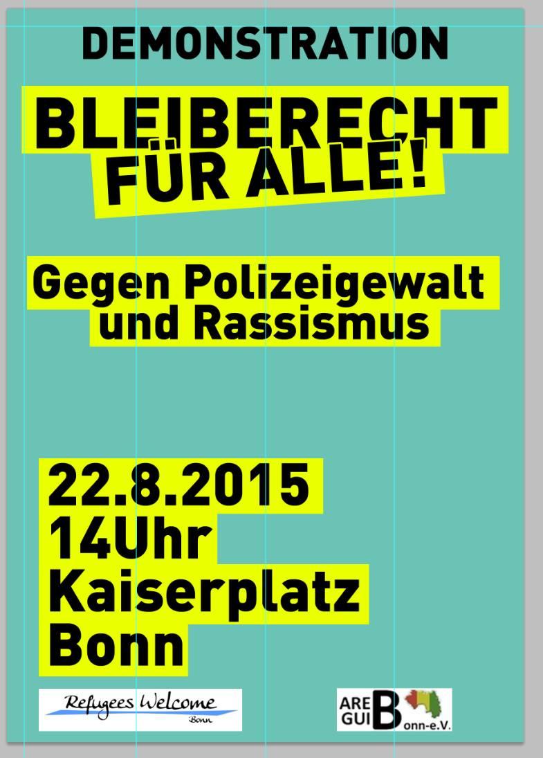 Bleiberecht für Alle! Gegen Polizeigewalt und Rassismus | Demo am 22. August in Bonn
